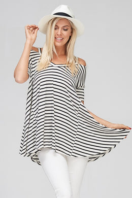 Cold Shoulder Striped Short Sleeve Flare Tunic