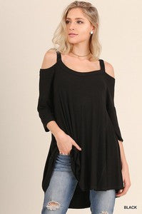 Cold Shoulder High-Lo Tunic Top