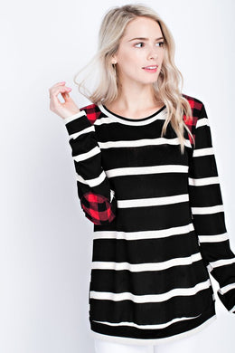 Black/White Stripe with Plaid Elbow Patches