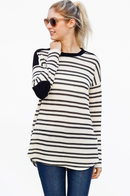 Black/White Stripe Tunic w/Elbow Patches
