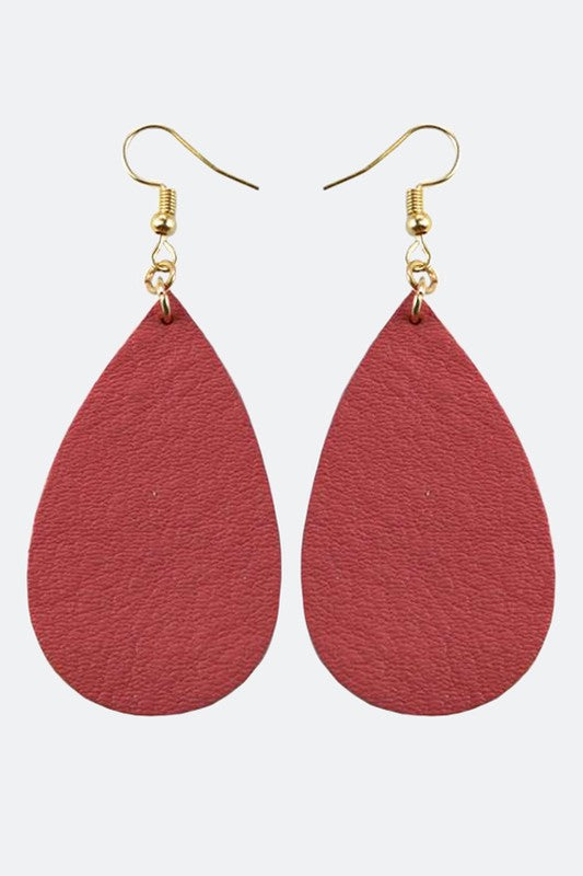 Tear Drop Shape Real Leather Earrings