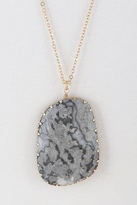 Grey Opulent Stone Necklace