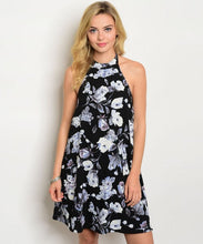 Black White Purple Sleeveless Floral Dress