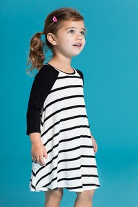Toddlers Striped Raglan Dress W/Side Pockets