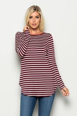 Striped Long Sleeve Top Burgundy