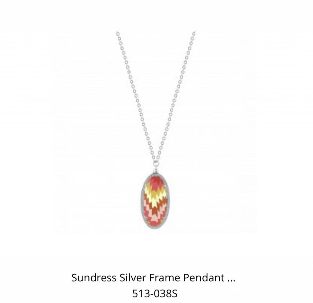 Reversible Silver Frame Pendant Necklace Sundress