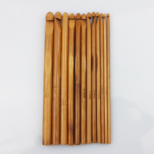 12 Sizes Carbonized Bamboo Handle Crochet Hooks