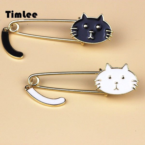 Black and White Cats Brooch Safety Pins