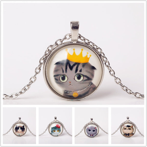 Cute Cat Glass Cabochon Pendant on Silver Chain
