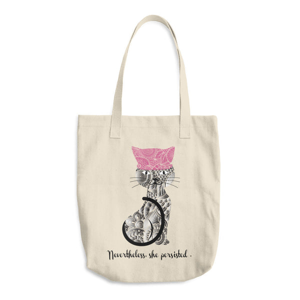 Nevertheless Denim Tote Bag - Pink Cat Yarn