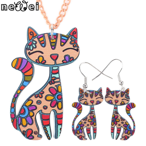 Newei Brand Jewelry Set with Cat Pendant and Drop Earrings