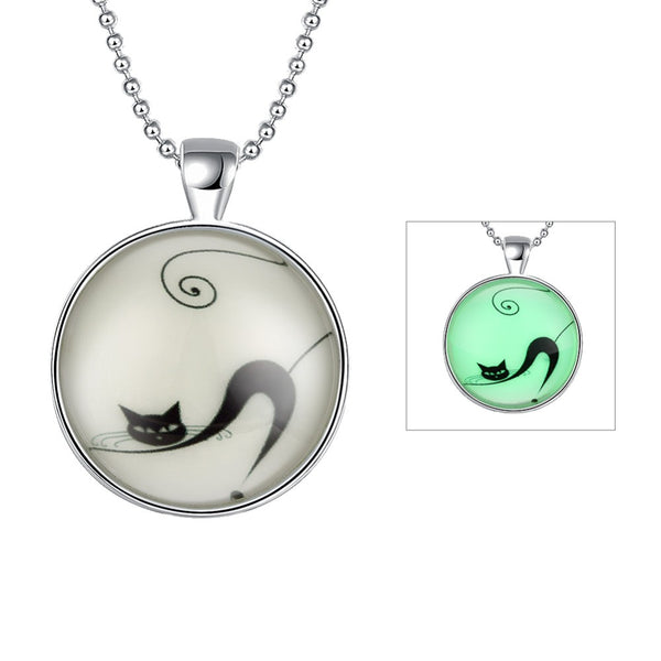 Halloween Style Cat Glowing Glass Cabochon Pendant Necklace with 60 mm ball chain
