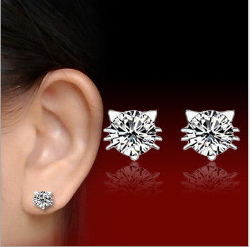 Real 925 Sterling Silver Jewelry CZ Cat Stud Earrings