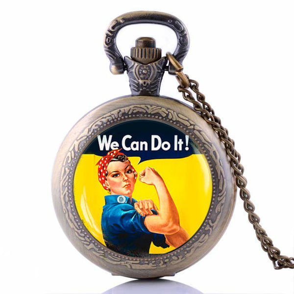 We Can Do It Pocket Watch Necklace