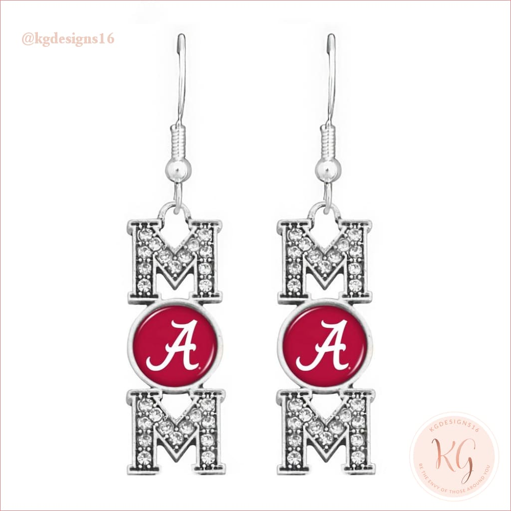 Alabama Mom Teardrop Game Day Collegiate Earrings Earrings