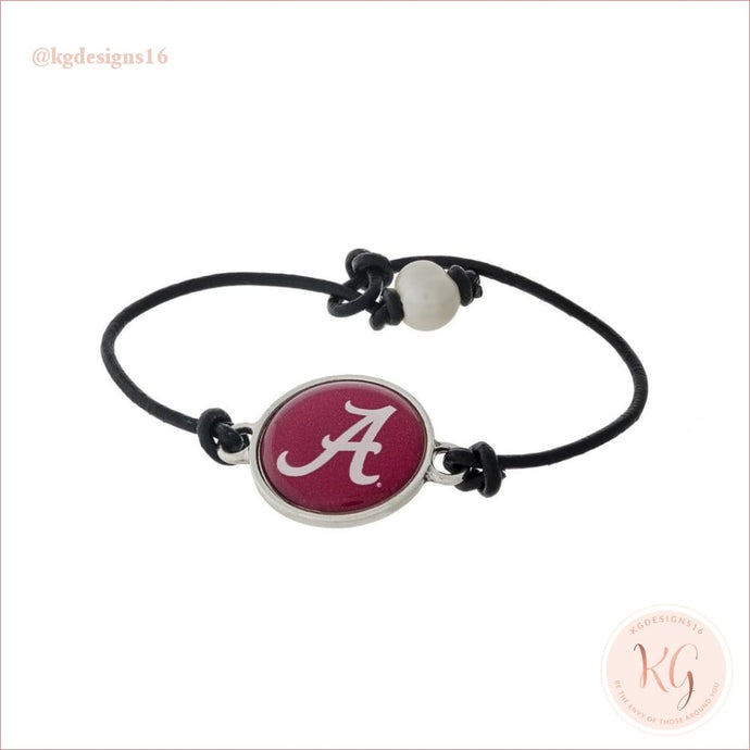 Alabama Roll Tide Leather Cord Bracelet