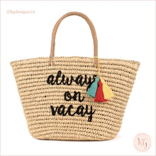 Load image into Gallery viewer, Always On Vacay Natural Straw Embroidered Beach Bag Tote