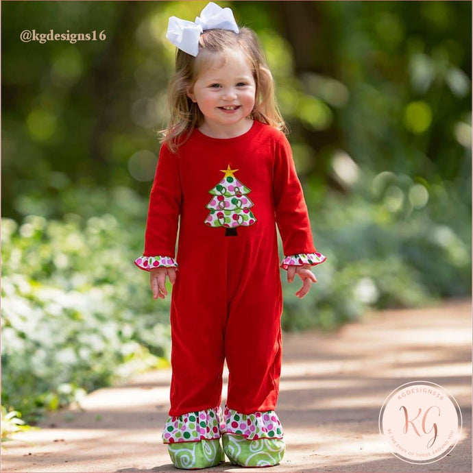 Ann Loren Baby Girls Red & White Christmas Tree Romper Outfit