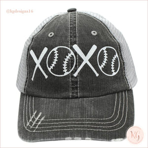 Baseball Love Distressed Xoxo White Glitter Hat