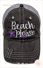 Load image into Gallery viewer, Beach Please Starfish Embroidered Distressed Baseball Hat