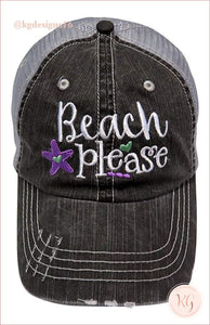 Beach Please Starfish Embroidered Distressed Baseball Hat