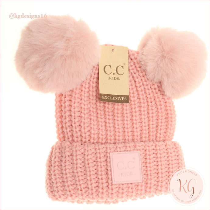 Big Kids Double Pom Cc Beanie With Rubber Patch 3 Colors Kids81 Pale Pink