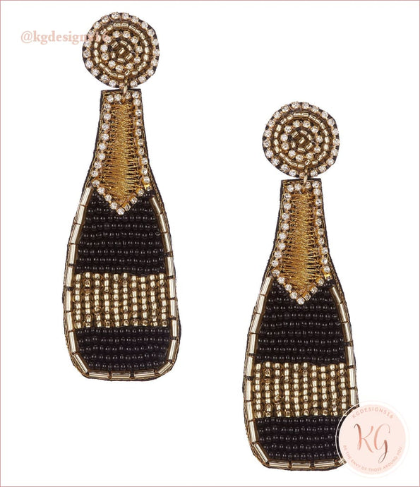 Black And Gold Champagne Bottle Statement Earrings