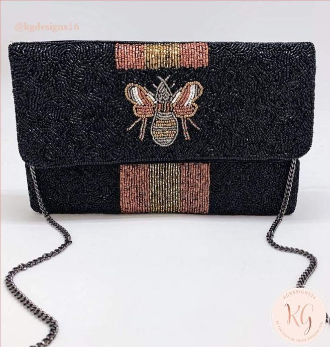 Black And Rose Gold Bee You Bumble Seed Bead Crossbody Clutch