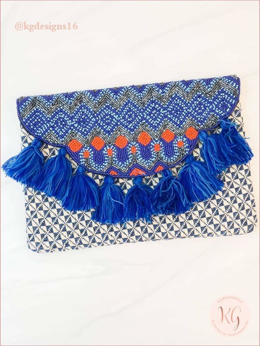Blue Multi Seed Beaded Crossbody Clutch With Tassel Accents