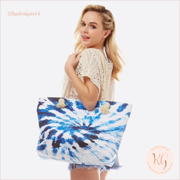 Blue Tie Dye Watercolor Oversize Beach Tote Bag With Rope Handles Navy
