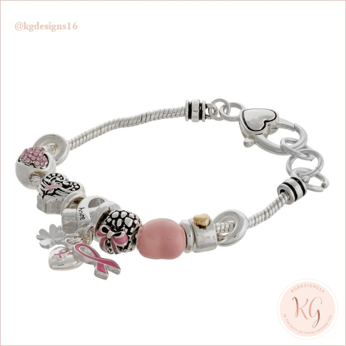 Breast Cancer Awareness Lobster Clasp Charm Bracelet