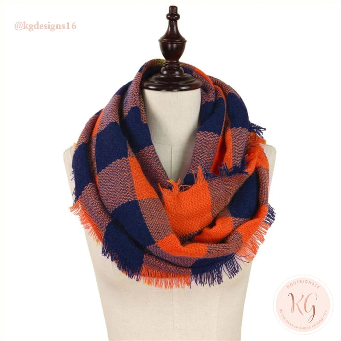 Buffalo Check Infinity Auburn Orange And Blue Scarf