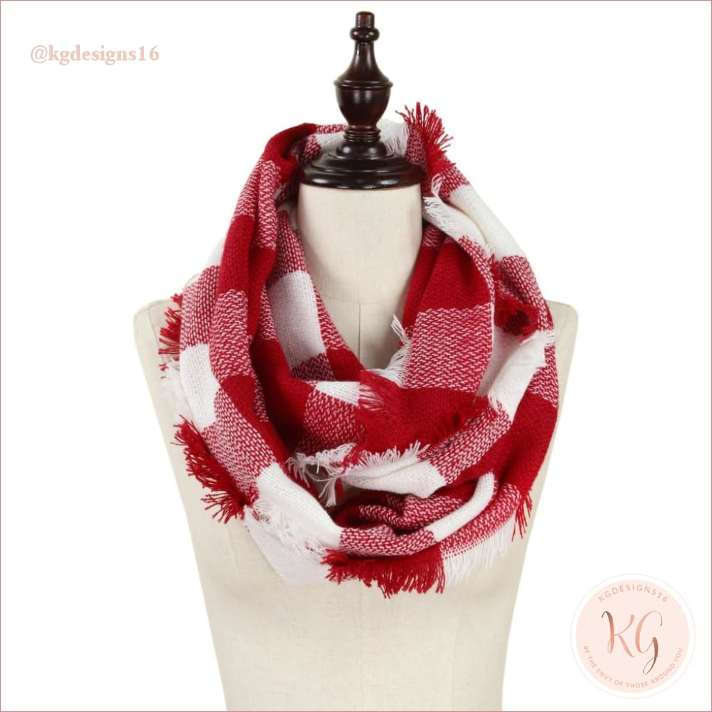Buffalo Check Infinity Red And White Alabama Scarf