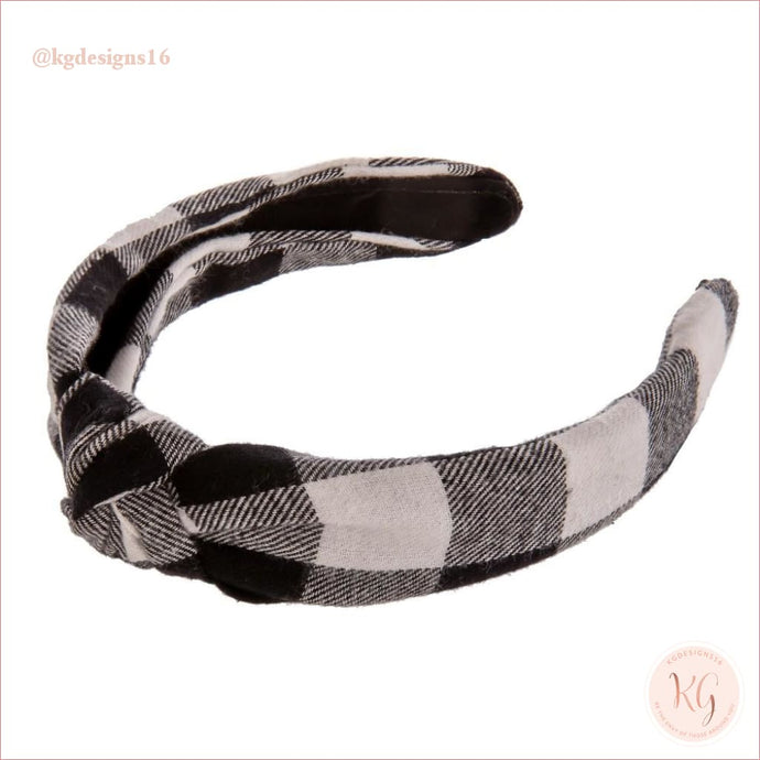 Buffalo Check White And Black Knotted Headband