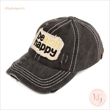 Load image into Gallery viewer, C.c. Beanie Beach Happy Distressed Pony Tail Patch Canvas Baseball Hat Black