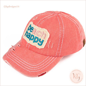 C.c. Beanie Beach Happy Distressed Pony Tail Patch Canvas Baseball Hat Coral