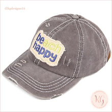 Load image into Gallery viewer, C.c. Beanie Beach Happy Distressed Pony Tail Patch Canvas Baseball Hat Dark Gray