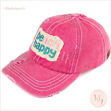 Load image into Gallery viewer, C.c. Beanie Beach Happy Distressed Pony Tail Patch Canvas Baseball Hat Hot Pink