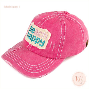 C.c. Beanie Beach Happy Distressed Pony Tail Patch Canvas Baseball Hat Hot Pink