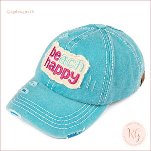 C.c. Beanie Beach Happy Distressed Pony Tail Patch Canvas Baseball Hat Turquoise
