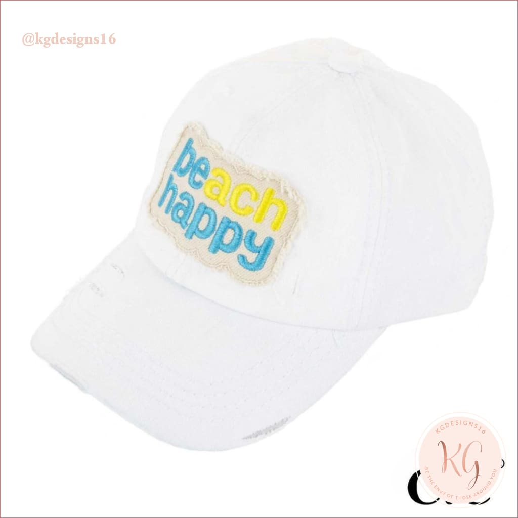 C.c. Beanie Beach Happy Distressed Pony Tail Patch Canvas Baseball Hat White