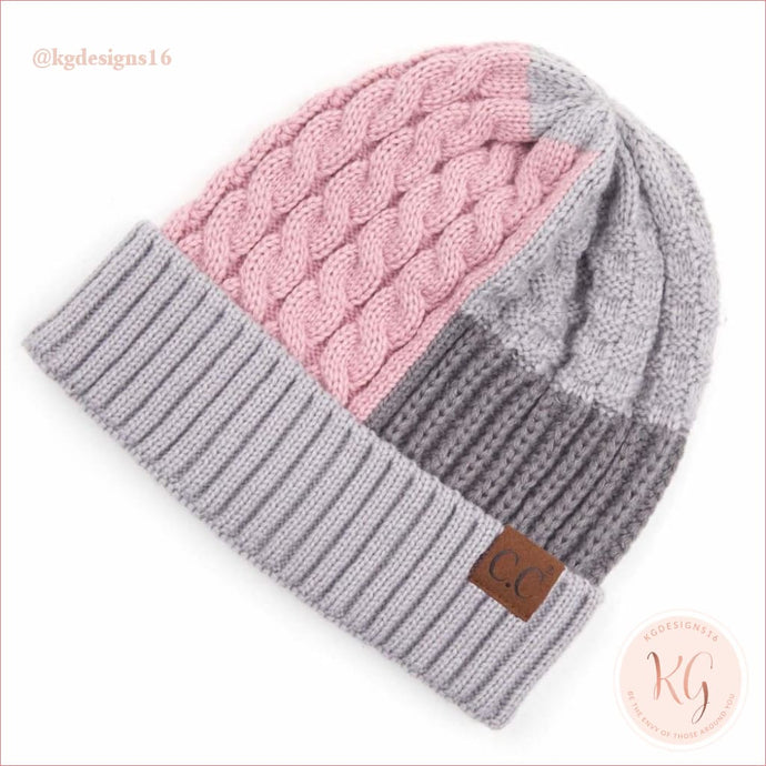 C.c. Beanie Color Block Multi Knit Cuff Hat Rose/light Gray