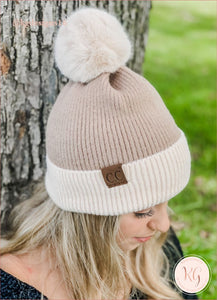 C.c. Beanie Colorblock Solid Faux Fur Pom Hat3627