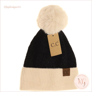 C.c. Beanie Colorblock Solid Faux Fur Pom Hat3627 Black