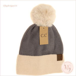 C.c. Beanie Colorblock Solid Faux Fur Pom Hat3627 Light Gray