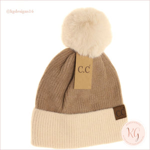 C.c. Beanie Colorblock Solid Faux Fur Pom Hat3627 Taupe