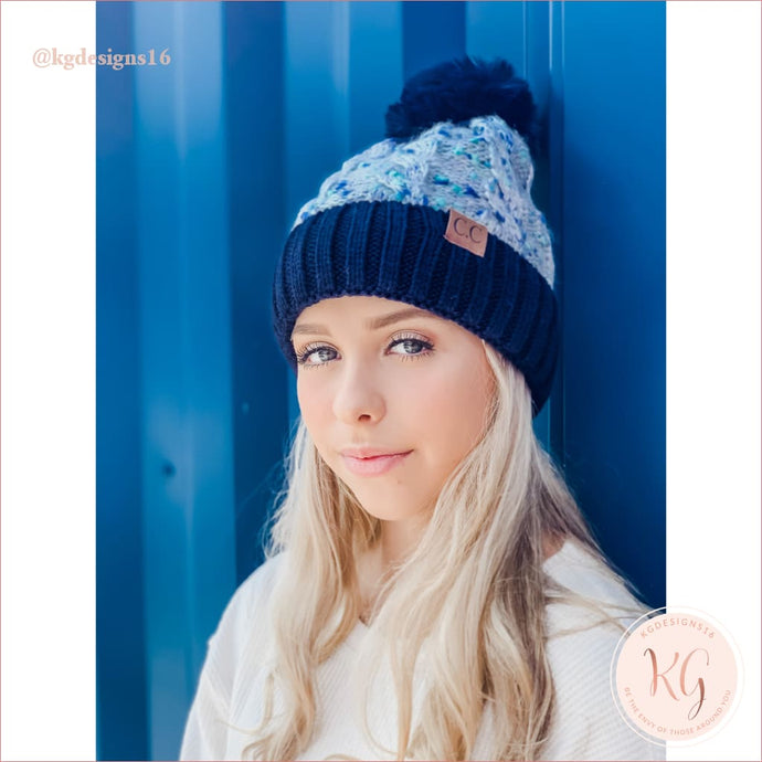 C.c. Beanie Confetti Cable Knit Faux Fur Pom 3621 Navy