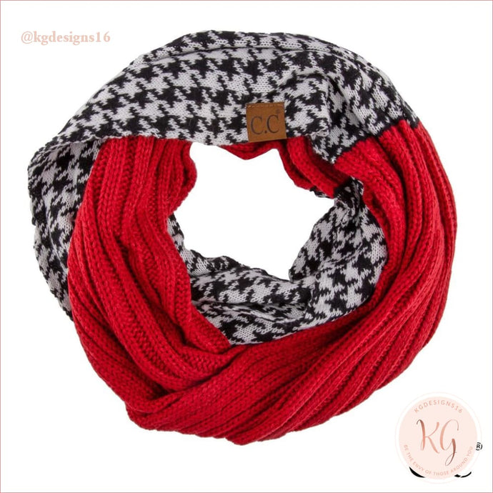 C.c. Beanie Crimson Houndstooth Check Infinity Scarf