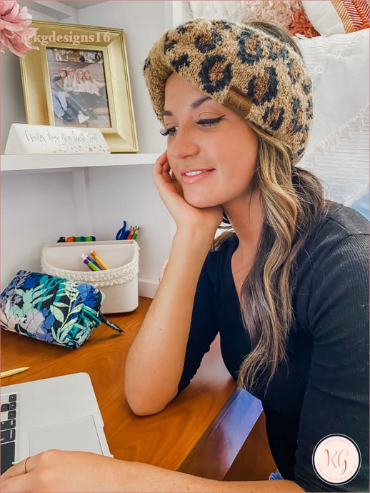 C.c. Beanie Leopard Boucle Knit Head Wrap