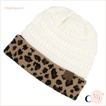 Load image into Gallery viewer, C.c. Beanie Leopard Cuff Hat Ivory